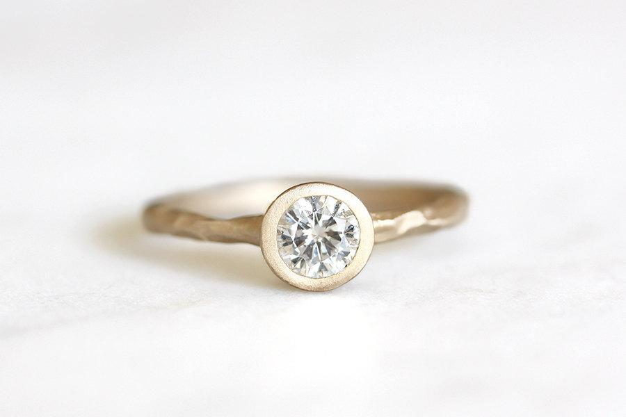 14k Gold Rustic Carved Moissanite Ring, Eco Friendly, Engagement Ring,  Alternative Diamond, Ethical, Wedding Ring