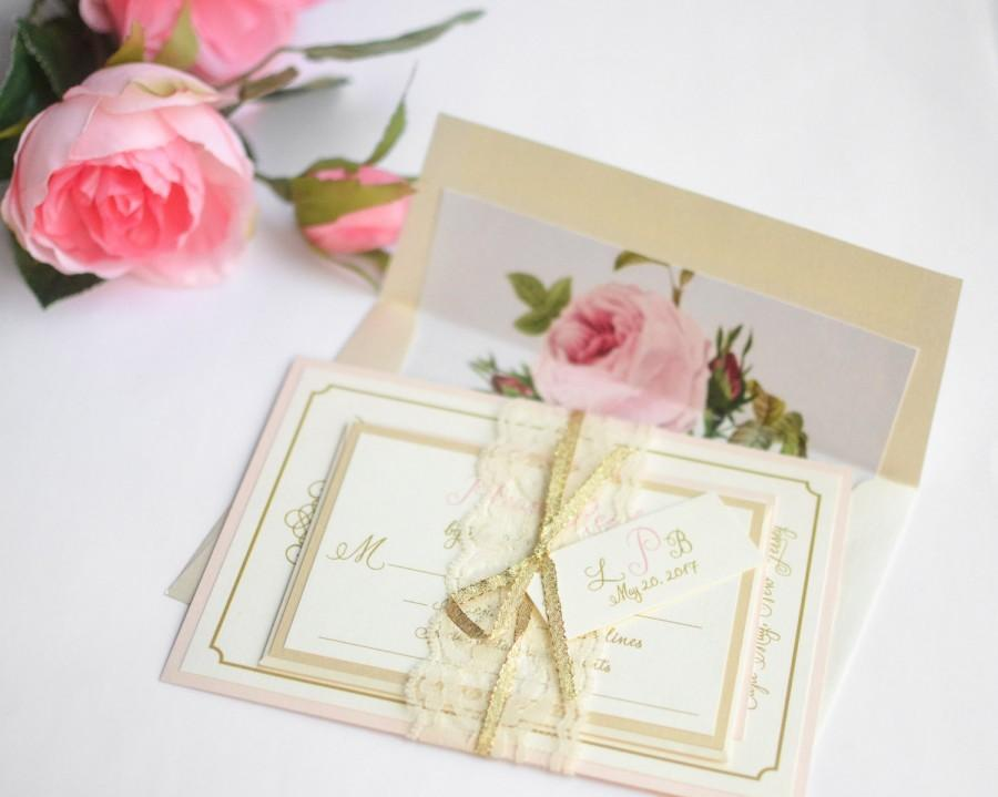 Vintage Lace Wedding Invitations, Blush Wedding Invitations, Floral Liner,  Gold Wedding Invitation, Lace Invite   Vintage Romance With Liner