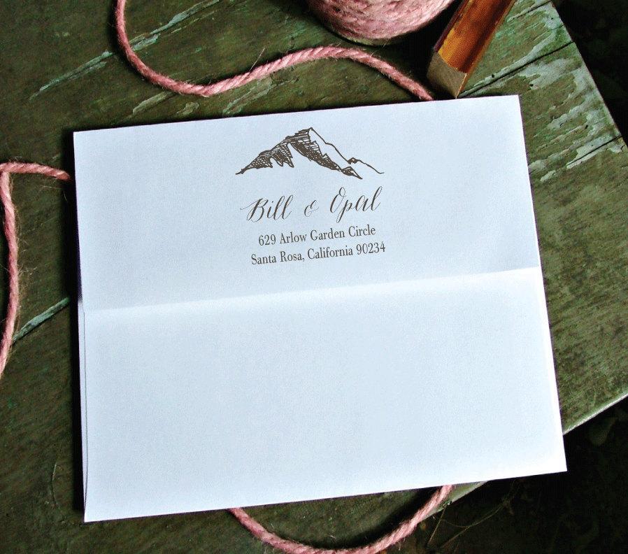 زفاف - Mountain Return Address Stamp, Family Return Address, Christmas Gift, Personalized, Rubber stamp, housewarming