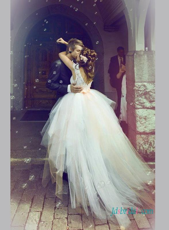 Hochzeit - Fairytale ethereal high low tulle wedding bridal dress