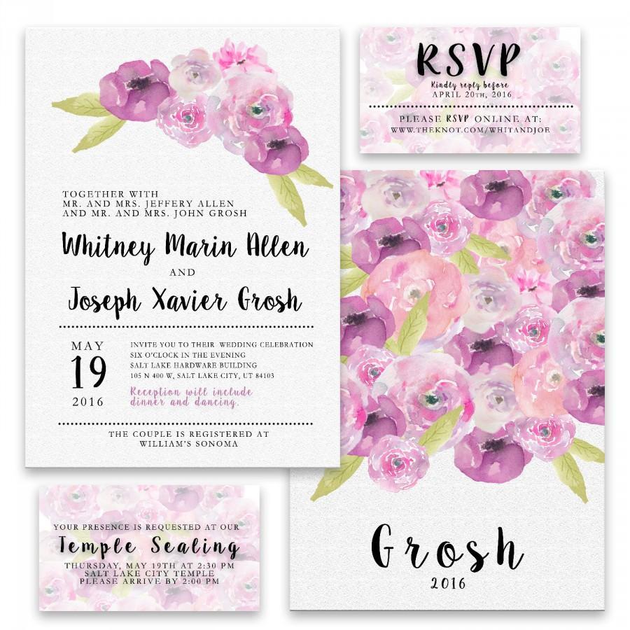 Purple Peony Wedding Invitation Digital Package #2615352 - Weddbook