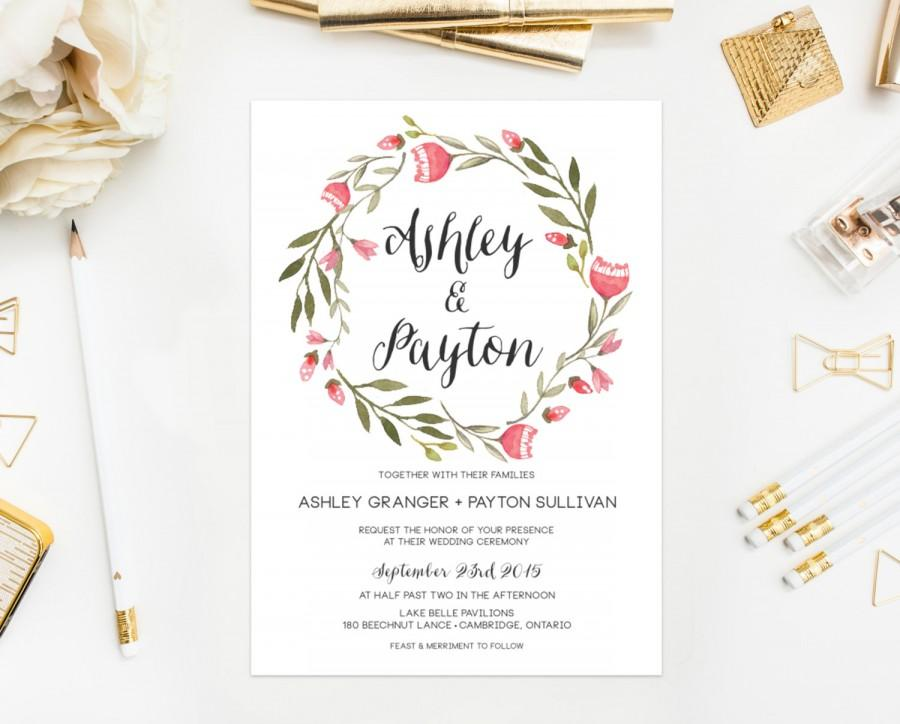 Wedding - PRINTABLE Wedding Invitation - Pink Floral Invitation - Shabby Chic Wedding Invitation - Watercolor Lilies Floral Wreath Invitation Suite