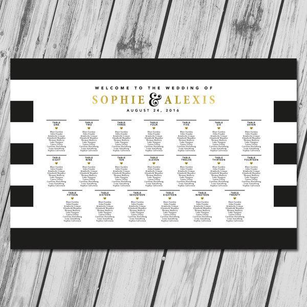 زفاف - Wedding Seating Chart, Wedding Seating Sign, Seating Chart Poster, Seating Chart Printable, Seating Board, Wedding Printables - Gold Hearts