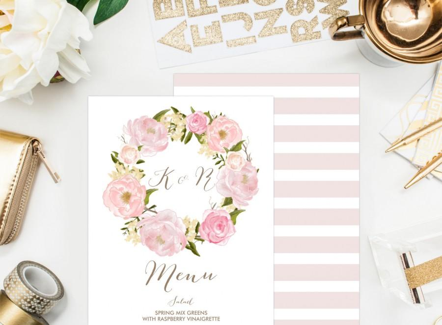 Mariage - PRINTABLE Wedding Menu Card - Romantic Floral Wreath Menu Card - Watercolor Peonies and Roses - Wedding Menu Card - Single Page