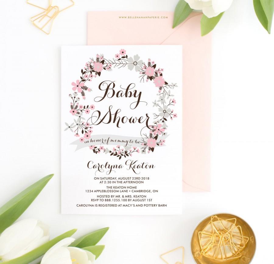 زفاف - PRINTABLE Invitation - Pink & Gray Floral Wreath Baby Shower Invitation - Amika Floral Wreath - Custom Colors - Customizable to Any Event