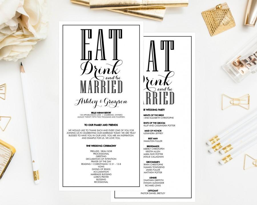 printable wedding programs black and white eat drink and be