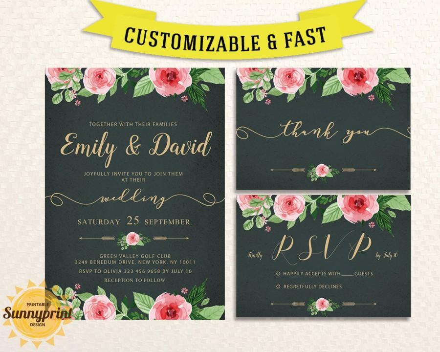 Mariage - Printable wedding invitation template - Wedding invitation suite - Printable wedding invitation set -  Rustic wedding invitation suite
