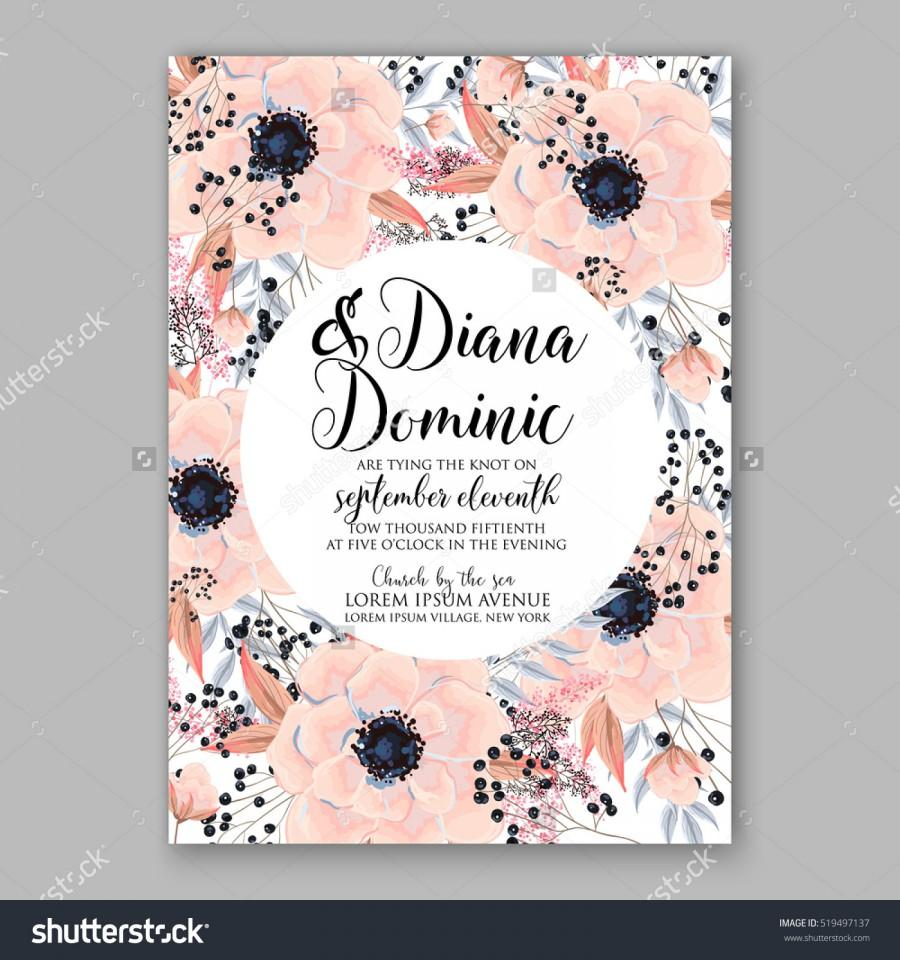 Свадьба - Wedding Invitation Floral Wreath with pink flowers Anemones, leaves, branches, wild Privet Berry, vector floral illustration in vintage watercolor style