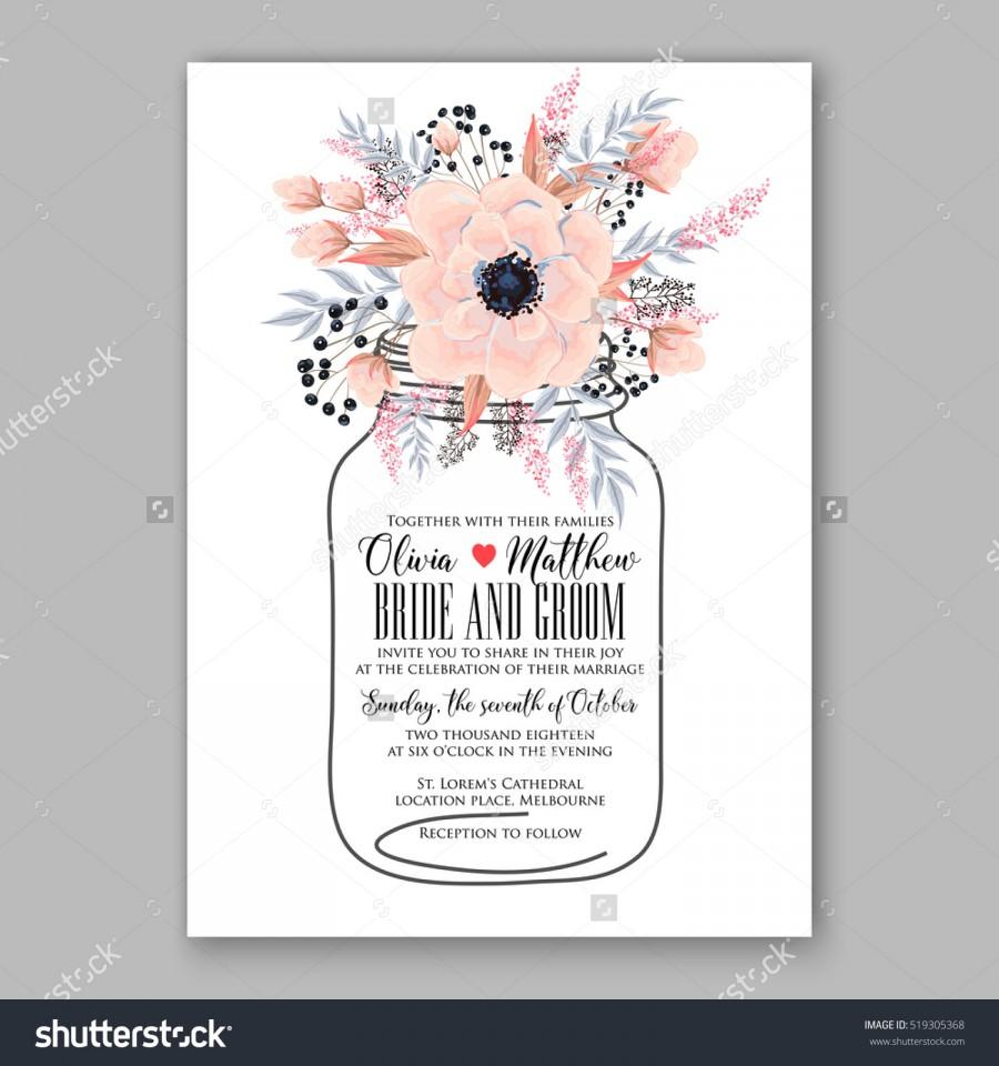 Wedding - Wedding Invitation Floral Wreath with pink flowers Anemones, leaves, branches, wild Privet Berry, vector floral illustration in vintage watercolor style.