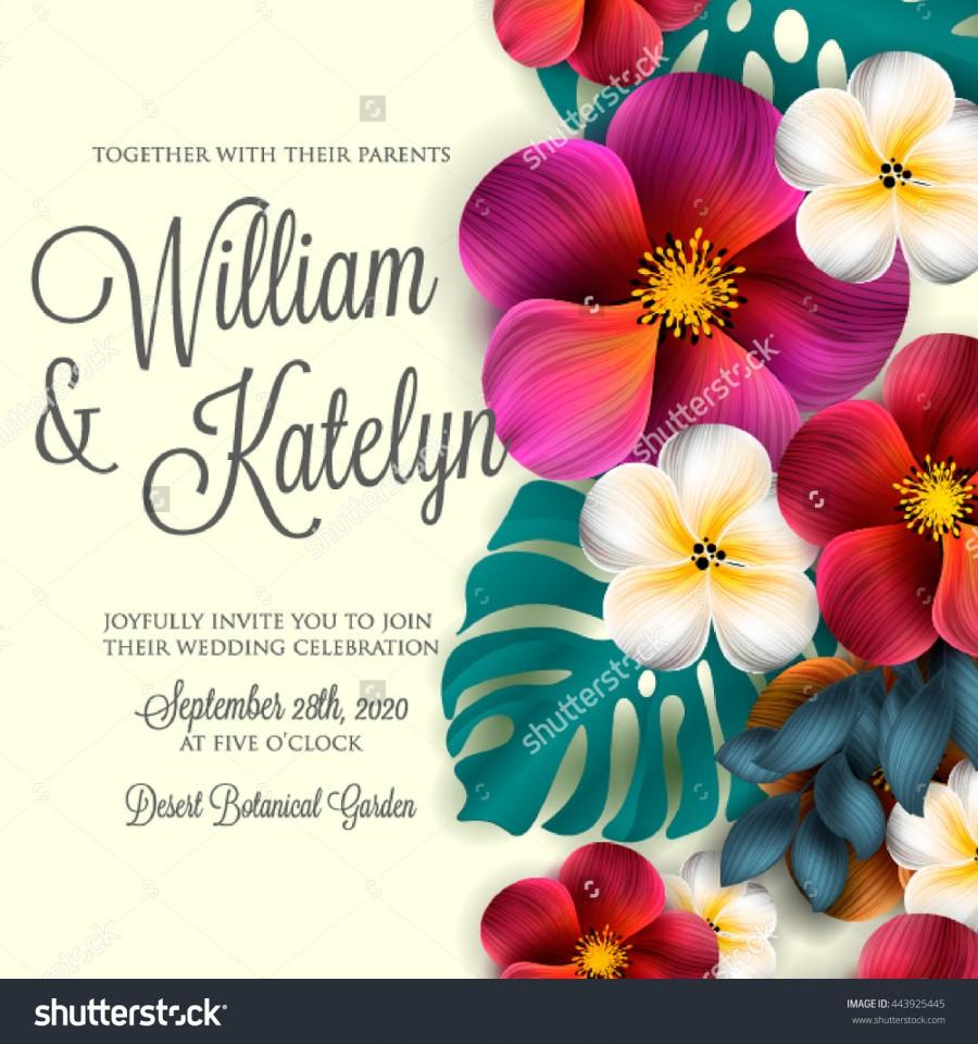 Wedding Invitation With Hibiscus And Lilly And Magnolia Flowers