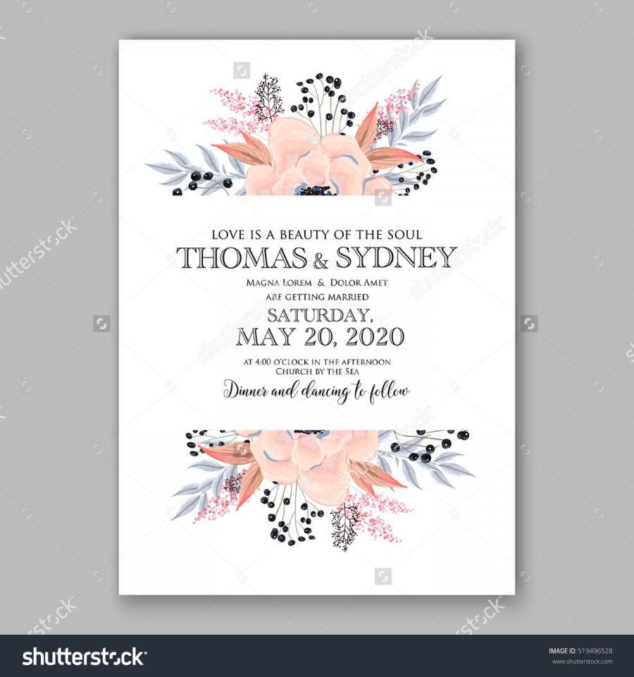 Wedding - Wedding Invitation Floral Wreath with pink flowers Anemones, leaves, branches, wild Privet Berry, vector floral illustration in vintage watercolor style