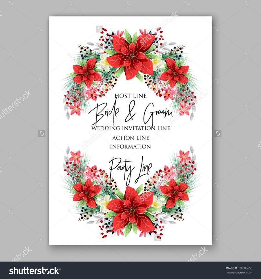 Wedding - Poinsettia Wedding Invitation sample card beautiful winter floral ornament
