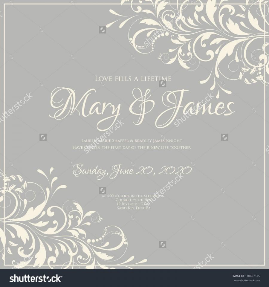 Wedding - Wedding card or invitation with abstract floral background. Greeting postcard in grunge or retro vector Elegance pattern with flowers roses floral illustration vintage style Valentine anniversary