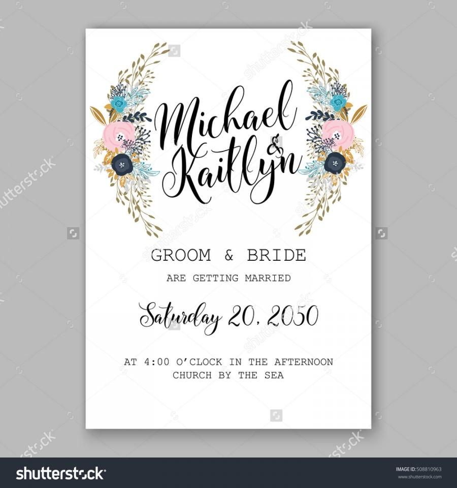 Wedding Invitation Printable Template With Floral Wreath Or Bouquet - Wedding invitation templates: winter wedding invitation templates free