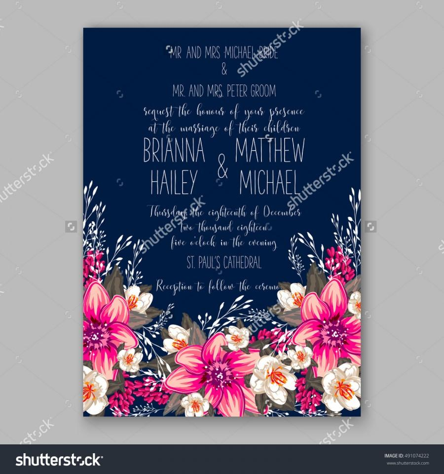 Hochzeit - Romantic pink peony bouquet bride wedding invitation template design. Winter Christmas wreath of pink flowers and pine and fir branches