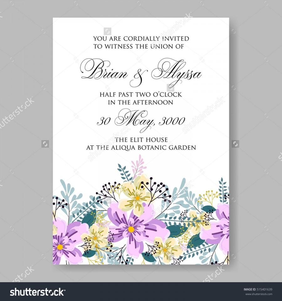Wedding Invitation Or Card With Tropical Floral Background ...