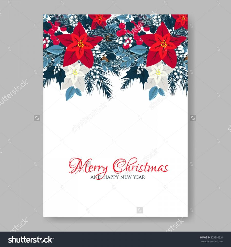 Christmas party invitation or greeting card template with holiday christmas party invitation or greeting card template with holiday wreath of poinsettia needle holly kristyandbryce Image collections