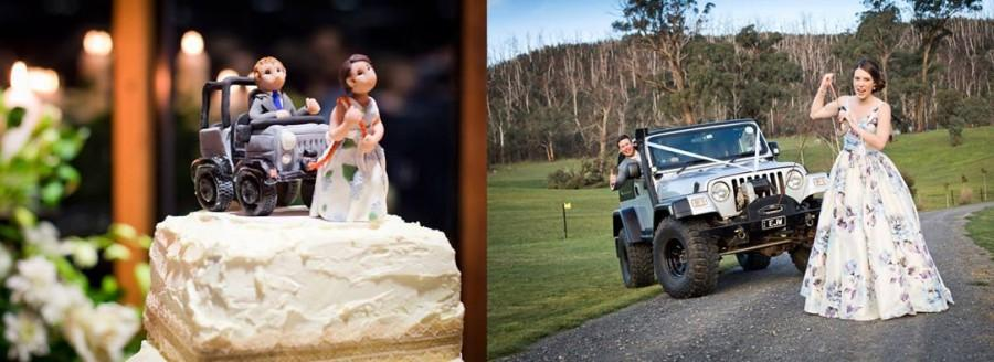 Mariage - Custom Jeep Wedding Cake Topper, Custom wedding cake topper, personalized cake topper, Bride and groom cake topper, Mr and Mrs cake topper