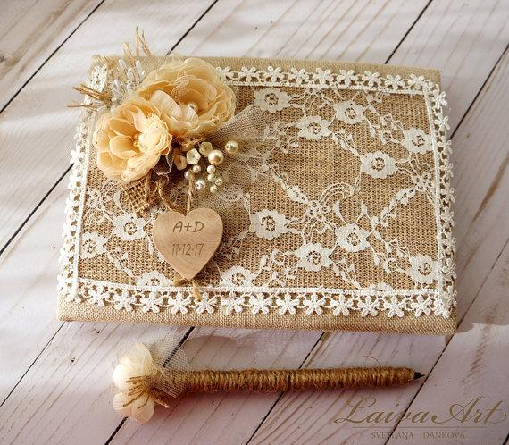 Rustic Wedding Guest Book Decor Gift With Pen