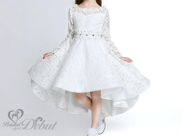 Flower girl dresslong sleeve ivory white flower girl dress satin flower girl dresslong sleeve ivory white flower girl dress satin and cotton line luxury high quality flower girl dress mightylinksfo