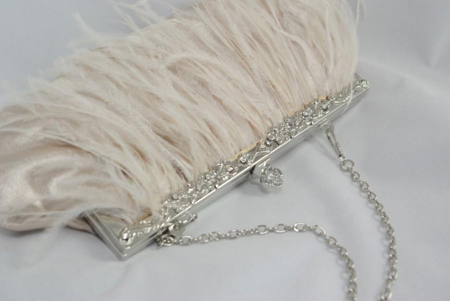 Mariage - Champagne Clutch, Ostrich Feather Bridal Clutch, Champagne Wedding Handbag, Bridal Clutch, Champagne Bridesmaid, Great Gatsby Theme Flapper