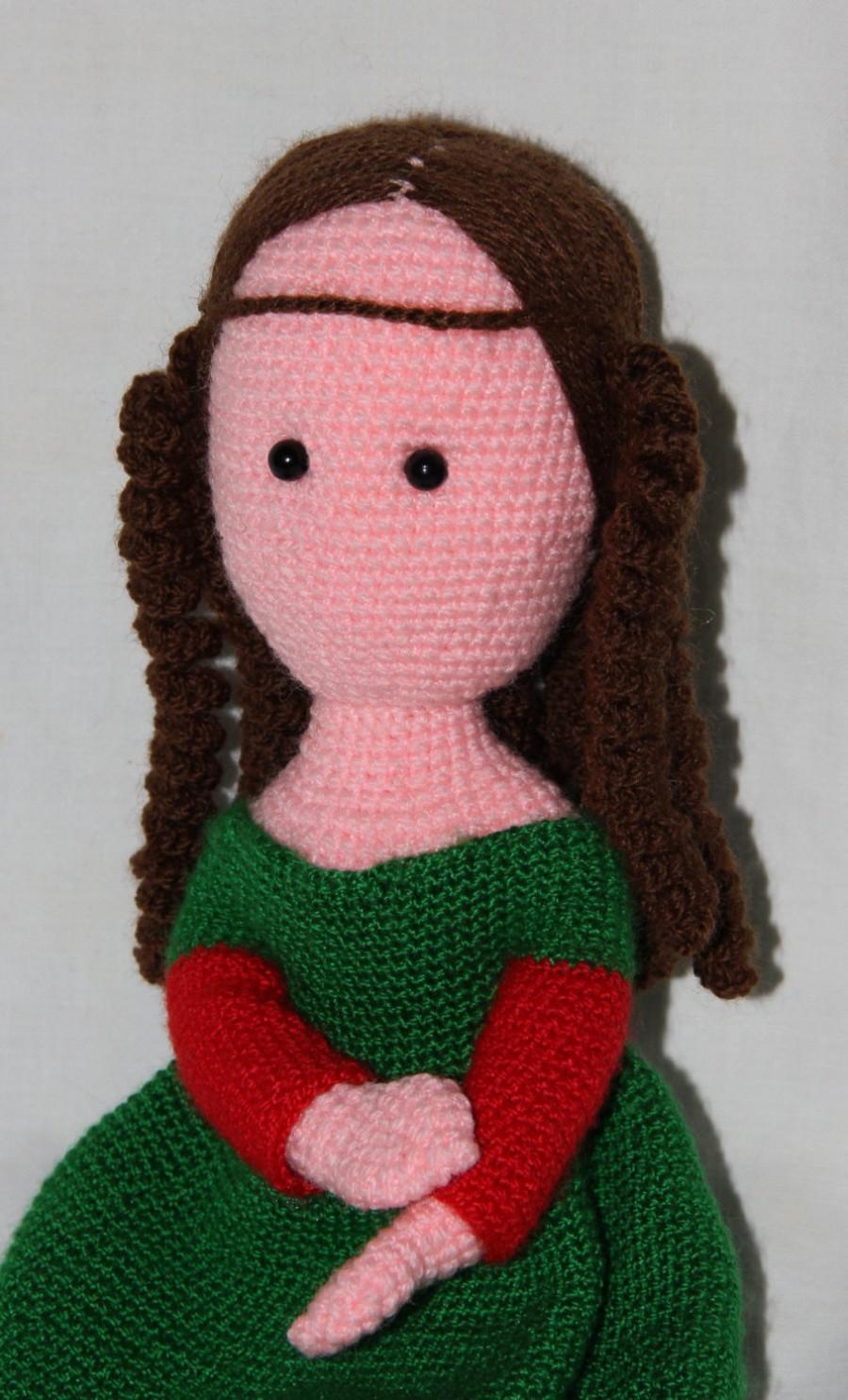Boda - Mona Lisa, Crochet Mona Lisa doll, Amigurumi, Crochet doll, Gift for her, Handmade