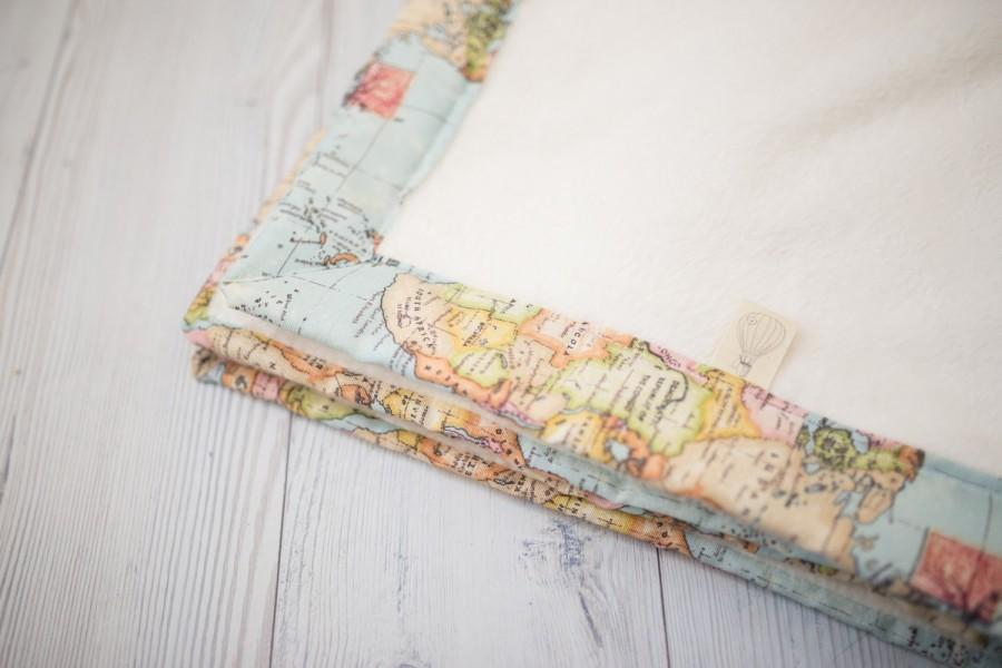 Wedding - Welcome to the World Blanket, Baby Blanket, World Map, Minky Blanket, Travel Theme Nursery, New Baby Gift, Baby Shower Gift, Adventure Theme