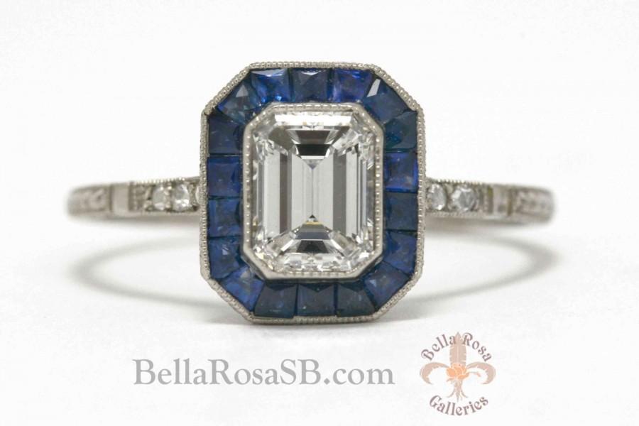 Elegant Emerald Cut Diamond Vintage Antique Platinum Engagement Ring