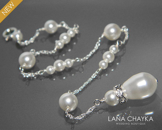 Wedding - Bridal Pearl Backdrop Necklace White Pearl Attachment Necklace Swarovski Pearl Bridal Backdrop Necklace Wedding Pearl Back Delicate Necklace