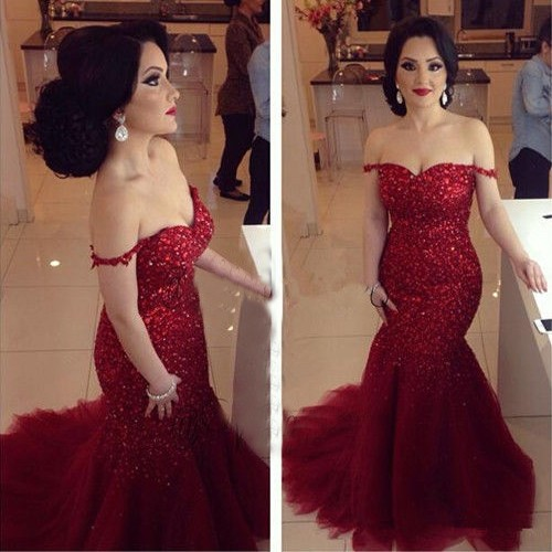 Wedding - Elegant Off-Shoulder Tulle Mermaid Red Prom/Evening Dress with Sequins