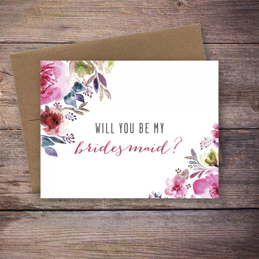 Printable Floral Will You Be My Bridesmaid Card Instant Download