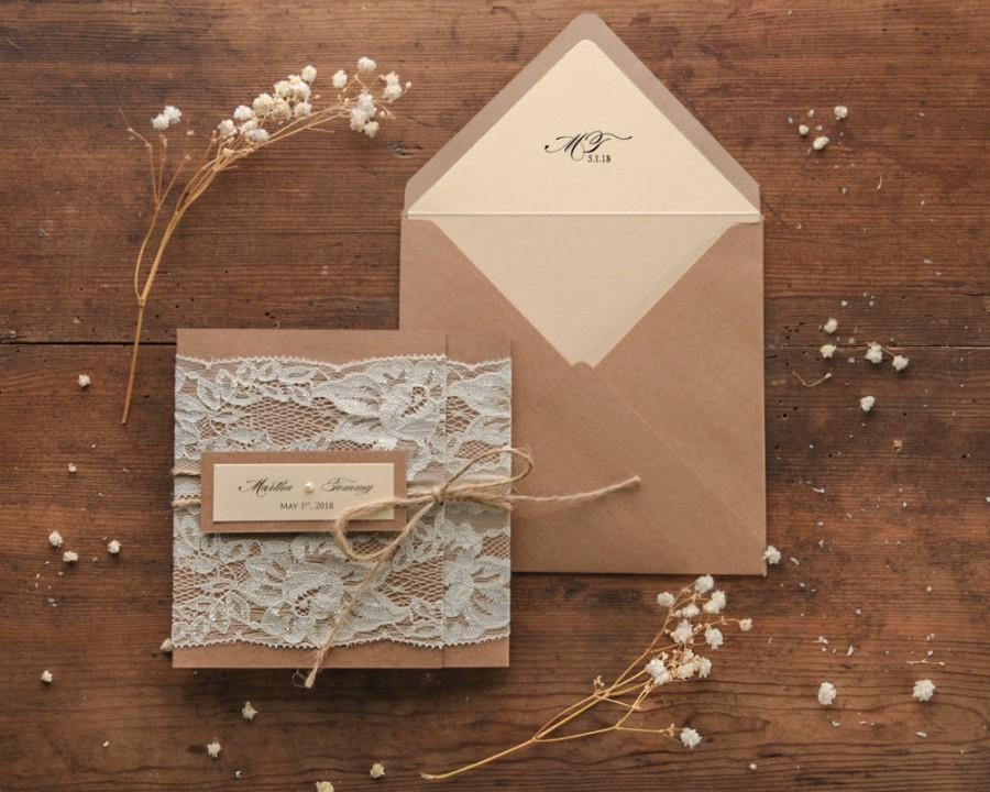 Mariage - Rustic Wedding Invitation Suite (20), Wedding Invitations Rustic, Lace Wedding Invitations, Craft Wedding Invitations Lace, Wedding Invites