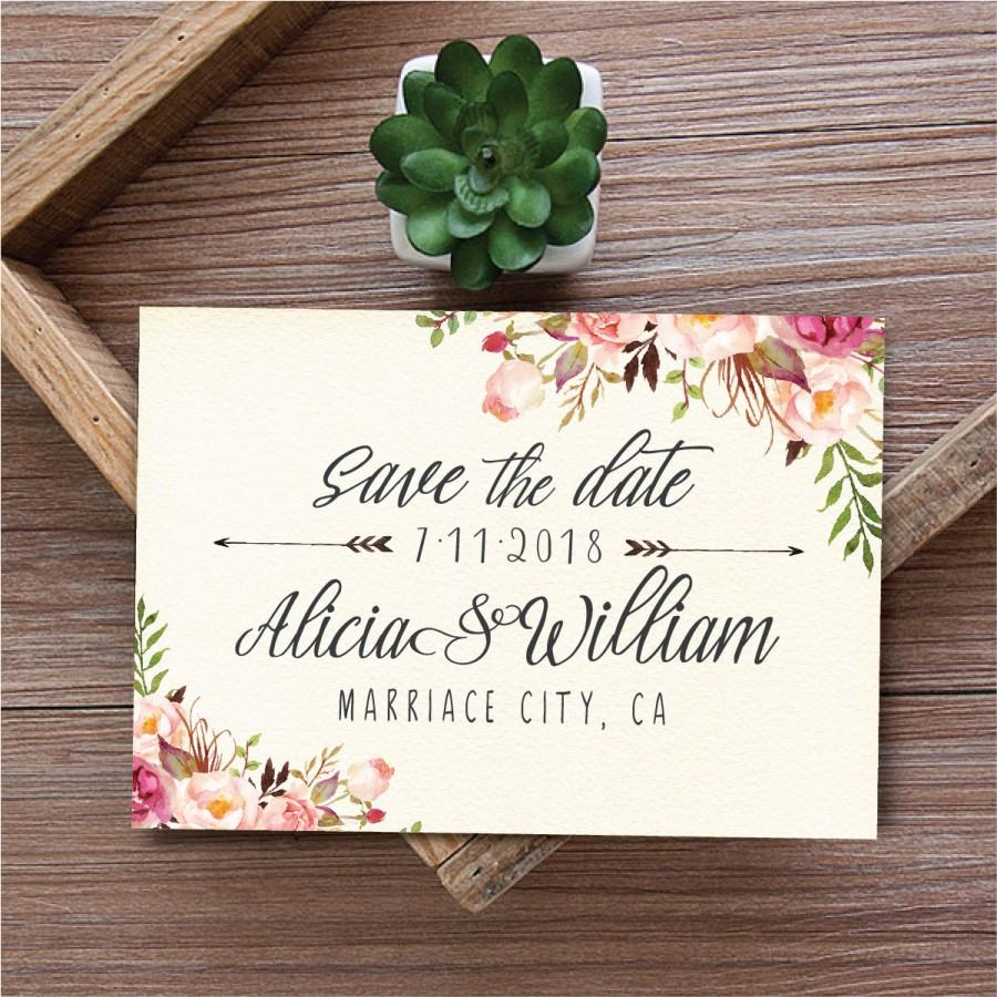 photograph regarding Printable Save the Date Cards named Preserve The Day Template, Printable Help you save The Day Card, Boho