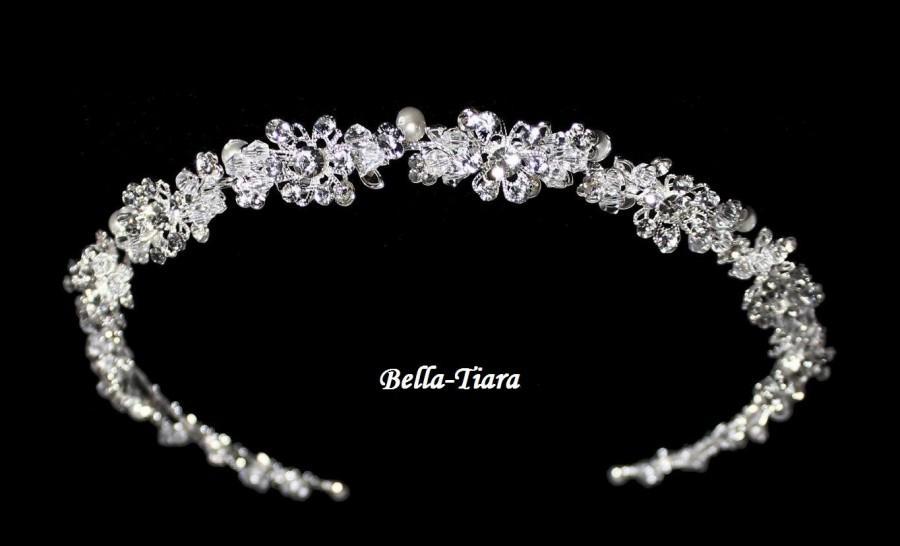 Mariage - swarovski crystal headband, wedding headpiece, wedding headband, bridal ribbon headband, ivory pearl wedding headpiece