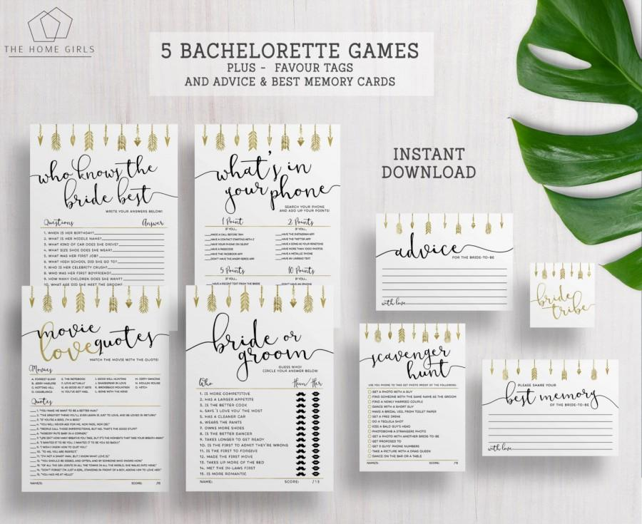 Bride Tribe Games Bachelorette Hens Party Bridal Shower Printable Or Groom Scavenger Hunt Gold Arrows