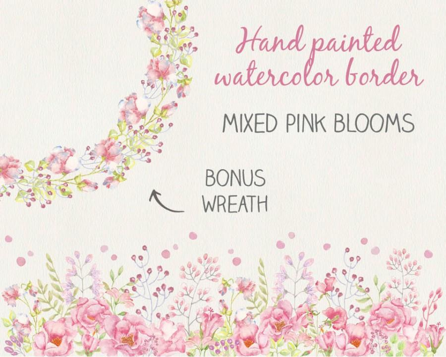 Mariage - Floral border in watercolors: hand painted mixed pink blooms; watercolor clip art; wedding clip art - instant download