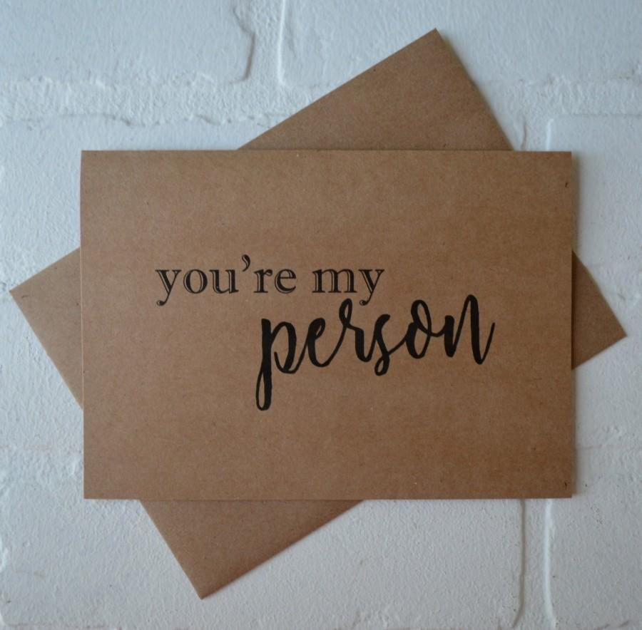 Mariage - Youre MY PERSON will you be my BRIDESMAID card bridal card bridesmaid cards kraft card bridal party card greys anatomy saying my person card