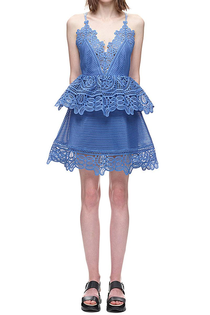 26e10bb4d7b2c Self-Portrait Lace Trimmed Peplum Dress #2615687 - Weddbook