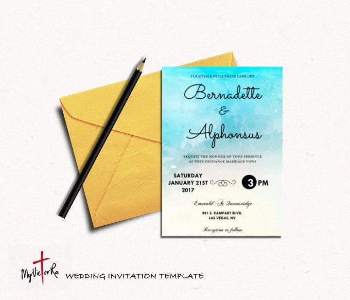 Mariage - DIY Aqua Watercolor Wedding Invitation Template, Wedding Printable, Printable templates, Editable templates, Instant Download, Digital,