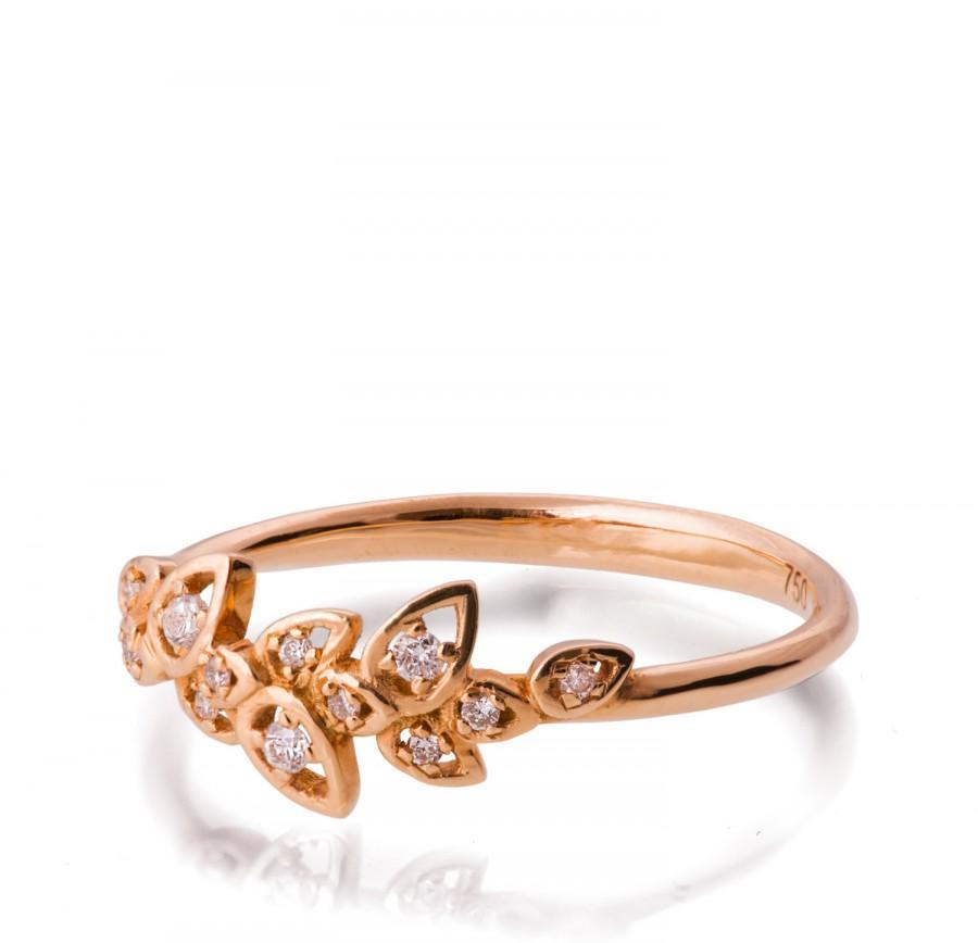 Mariage - Diamond Art Deco Petal Engagement Ring - 18K Rose Gold and Diamond engagement ring, leaf ring,flower ring, vintage,unique engagement ring,11