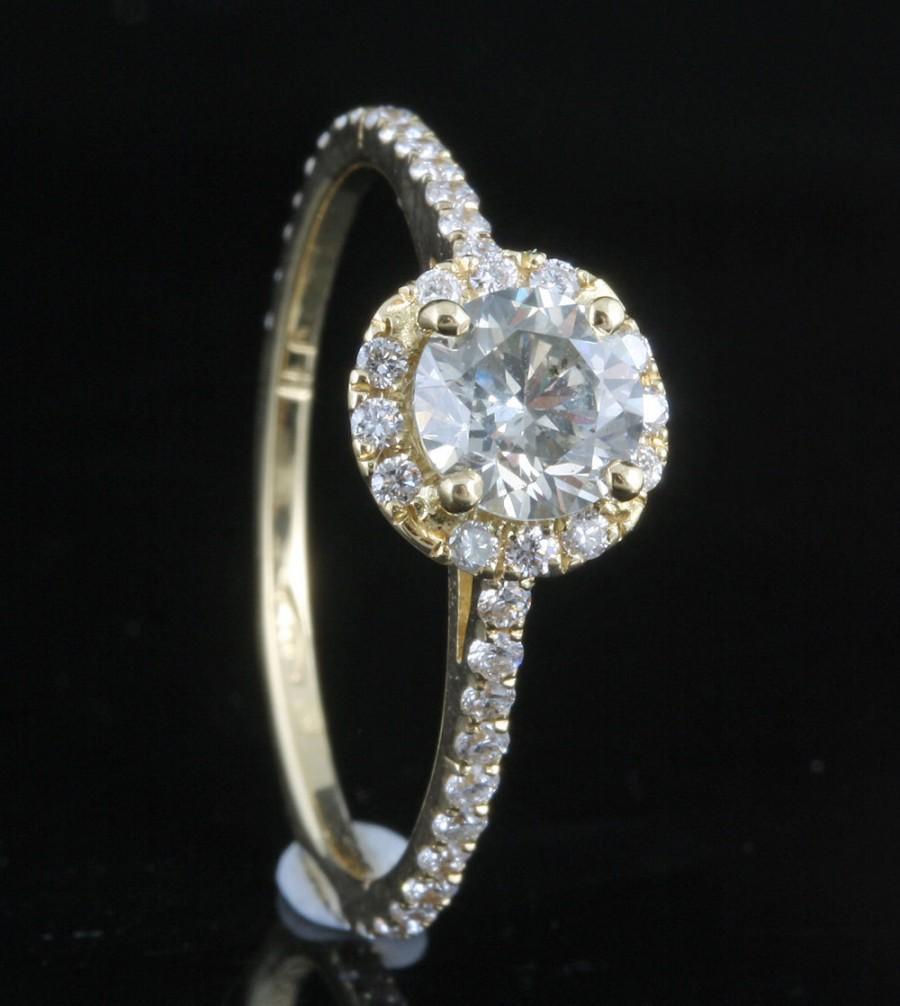Hochzeit - Diamond Engagement Ring 1 ct - Yellow Gold Engagement Ring - Engagement Ring Side Stones - Bridal Jewellery - Anniversary -wedding band