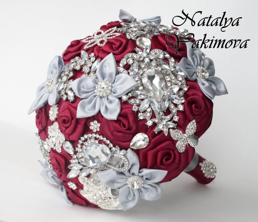 Wedding - Brooch Bouquet, Bridal Bouquet, Wedding Bouquet, Fabric Bouquet, Unique Wedding Bridal Bouquet, Marsala and silver, Midnight in Paris