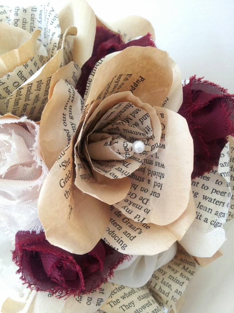 Handmade Wedding Bouquet And Boutonierre Buttonhole Vintage Book