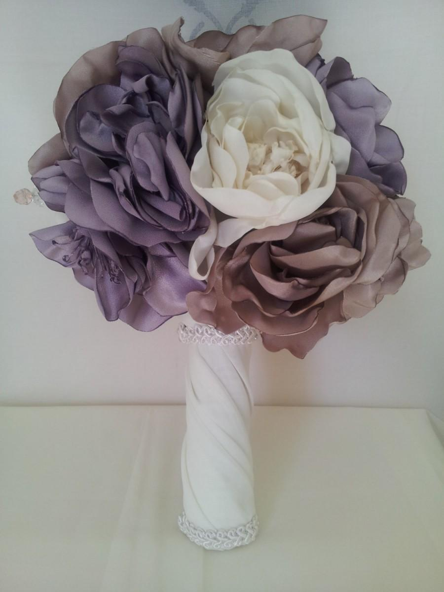 Handmade wedding bouquet and boutonierre buttonhole silk dusky handmade wedding bouquet and boutonierre buttonhole silk dusky pink and purple with cream fabric flowers mightylinksfo