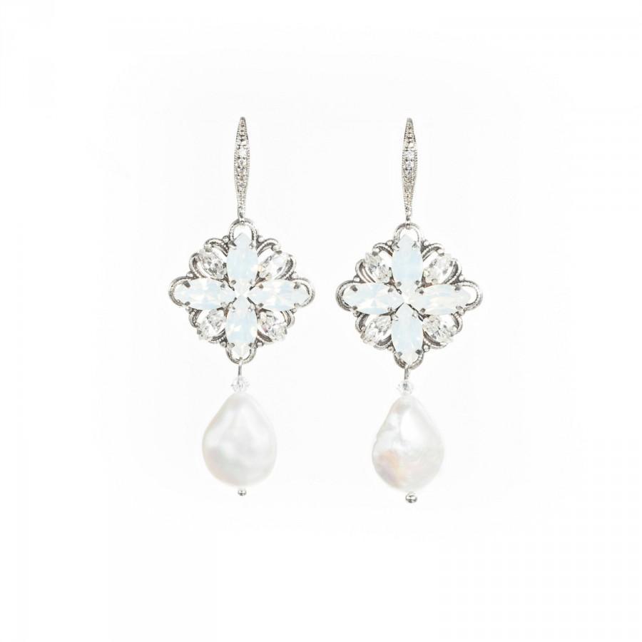 Bridal Earrings, Swarovski Pearl And Crystal Earrings, Vintage Style Wedding  Earrings ,natural Pearl Earrings , Wedding Jewelry