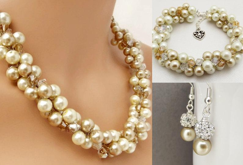 Wedding - Bridal Jewelry Set Pearl Necklace, Bracelet and Earrings Set, Champagne and Ivory Pearls, Bridesmaid Pearl Jewelry