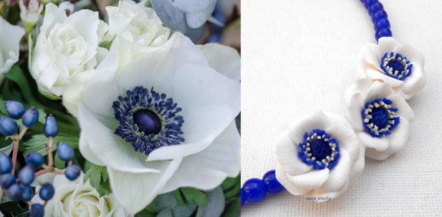Wedding - Blue Necklace, Flower Necklace, Wedding Jewelry, Minimal Necklace, Windflower, Anemone, Blue Jewelry, Flower Jewelry, Handmade Necklace
