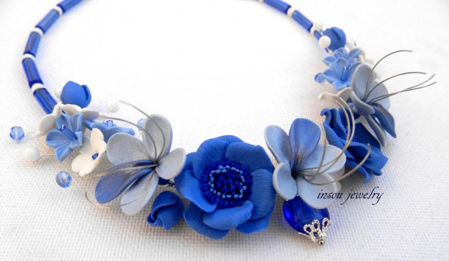Wedding - Wedding Necklace, Blue Necklace, Flower Necklace, Statement Necklace, Flower Jewelry, Anemone, Gift For Her, Wedding Jewelry, Flowers