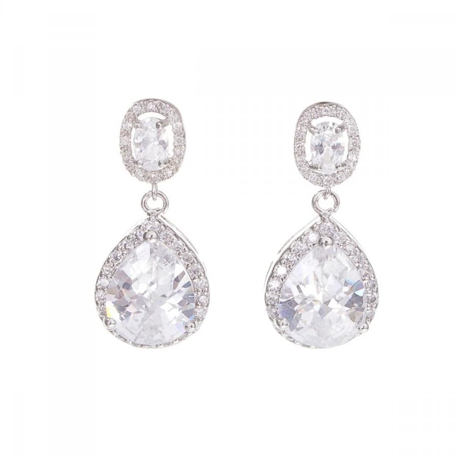 Свадьба - Crystal Earrings, Bridal Crystal Earrings , Teardrop Wedding Earrings, Silver Crystal Earrings , Bridal Bridesmaid Jewellery