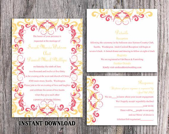 Wedding - DIY Wedding Invitation Template Set Editable Word File Instant Download Printable Invitation Pink Wedding Invitation Yellow Invitations